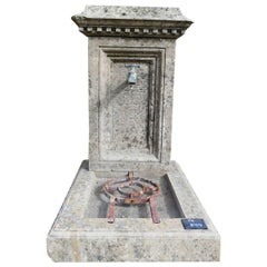 Small Garden Wall Fountain with Hand-Sculpted Pediment in Aged Stone, Provence