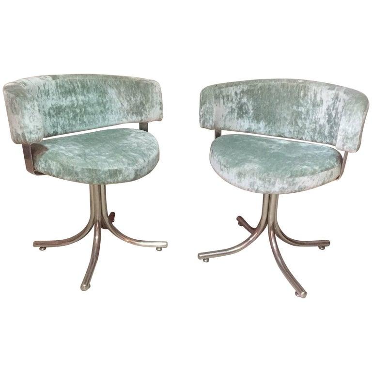 Green Velvet Design Pair of Chromed Metal Armchairs, 1960s