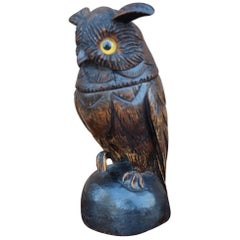 Antique Hand-Carved Black Forest Owl Sculpture with Glass Eyes and Brass Inkwell