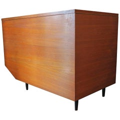 Danish Teak Modernist Blanket Chest / Window Seat with Metal Feet Unusual Shape
