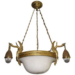 Antique & Striking Empire Style Gilt Bronze and Alabaster Pendant Light Fixture