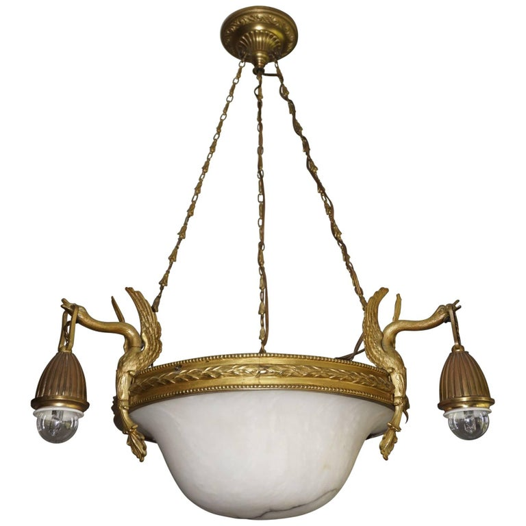 Antique & Striking Empire Style Gilt Bronze and Alabaster Pendant Light Fixture For Sale