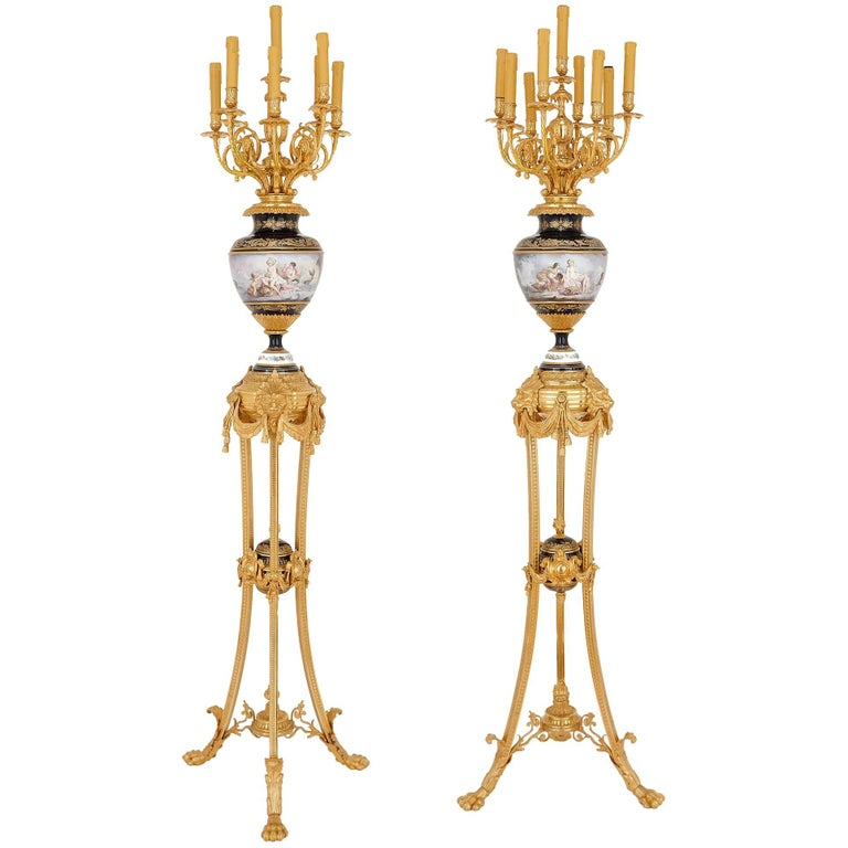 Pair of Sevres Style Porcelain and Gilt Bronze Floor Standing Torcheres