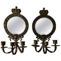 19th Century Pair of Mirrored and Bronze Sconces