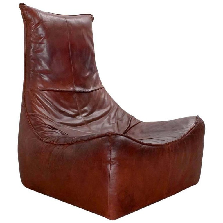 "1970s Modern Leather Lounge Chair ""Rock"" by Gerard Van Den Berg for Montis"