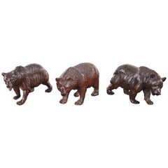 Quality Set of Three Antique Carved Black Forest Bears