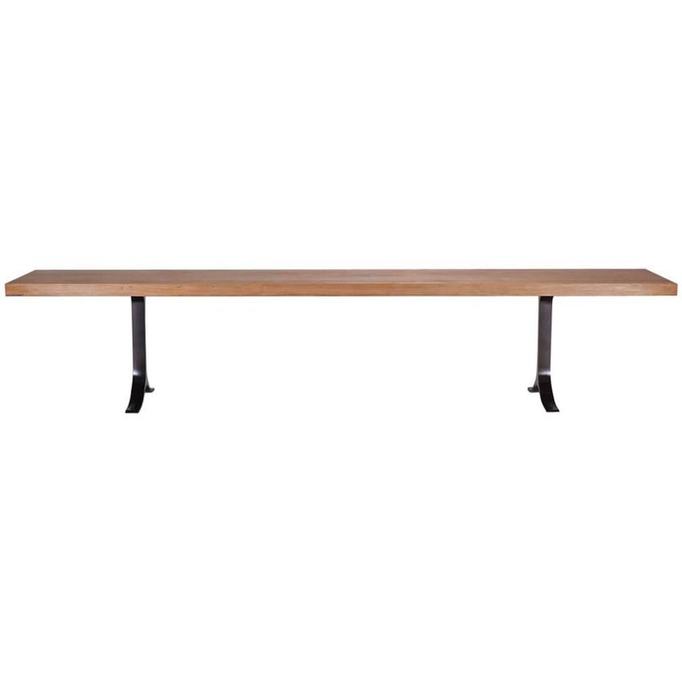 Bench, Reclaimed Hardwood, Sand Cast Brass Base by P. Tendercool in Stock