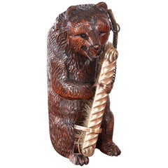 Unusual Antique Carved Black Forest Bear