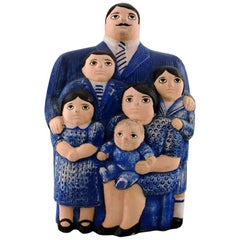 "Rare Figure, Lisa Larson, ""The Family"", Glazed Ceramics, Gustavsberg, Sweden"