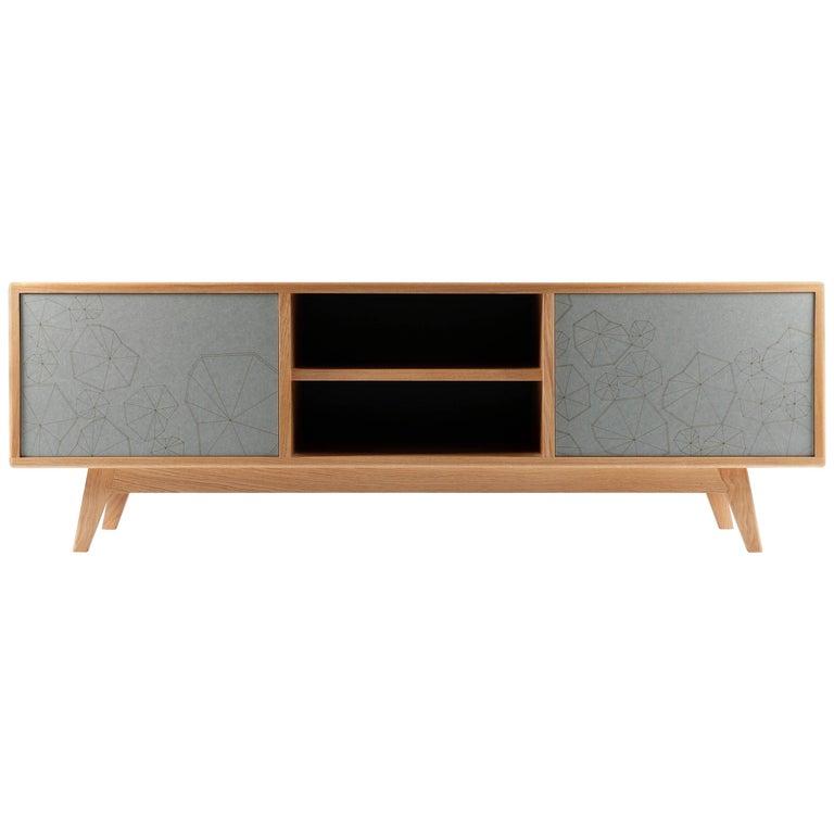 "Scandinavian Modern Design ""Eklo"" Sideboard Cabinet with Contemporary Engraving"