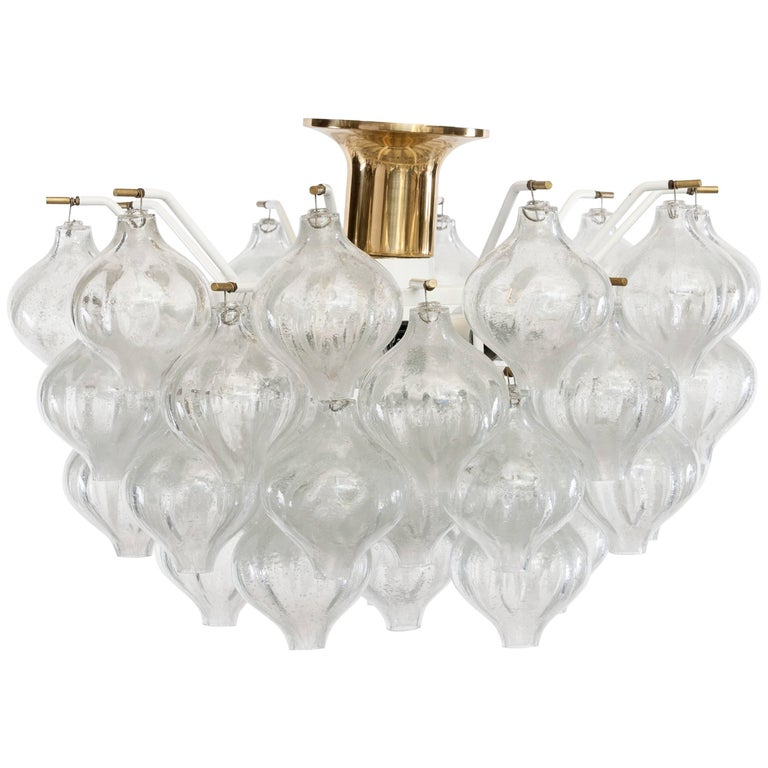 Midcentury Design Glass and Brass Light Chandelier Tulipan by J.T. Kalmar