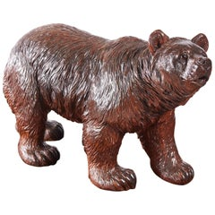 Large Antique Carved Black Forest Bear