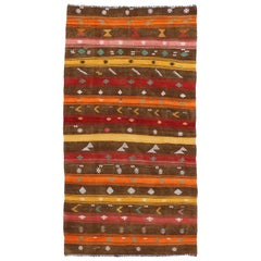 Vintage Turkish Kilim Rug with Bohemian Tribal Design and Modern Cabin Style