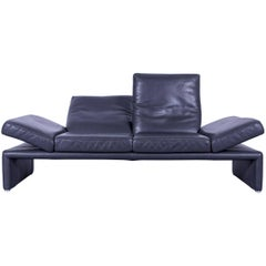 Koinor Raoul Designer Sofa Grey Anthracite Leather Three-Seat Couch