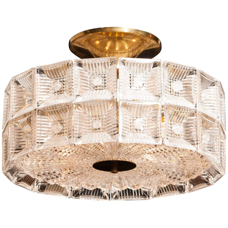 1960s, Large Glass and Brass Ceiling Lamp by Carl Fagerlund for Orrefors