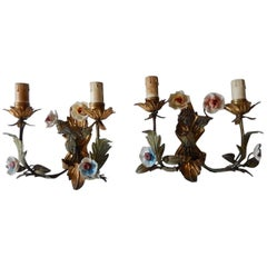 19th Century Italian Tole and Porcelain Flowers Sconces