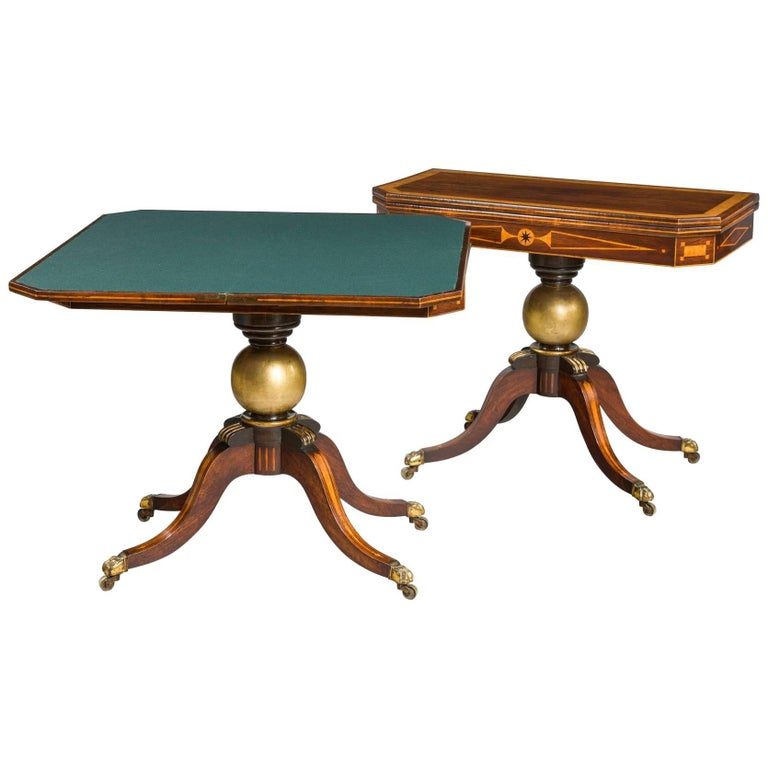 Pair of Regency Period Rosewood Card Tables
