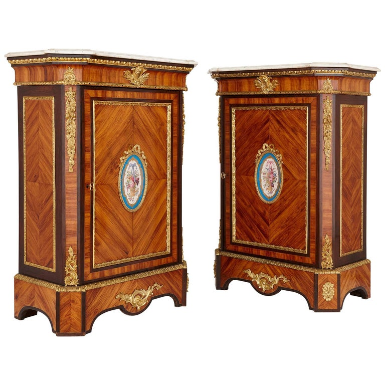 Pair of Antique French Wooden Cabinets with Sèvres Style Porcelain Plaques