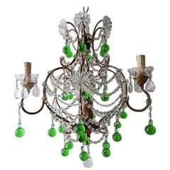 French Green Murano Drops Crystal Chandelier, circa 1930