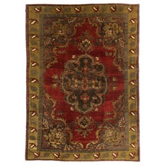 Vintage Turkish Oushak Rug with Victorian Style and Saturated Colors