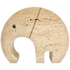Midcentury Italian Travertine Elephant Paperweight by Fratelli Mannelli