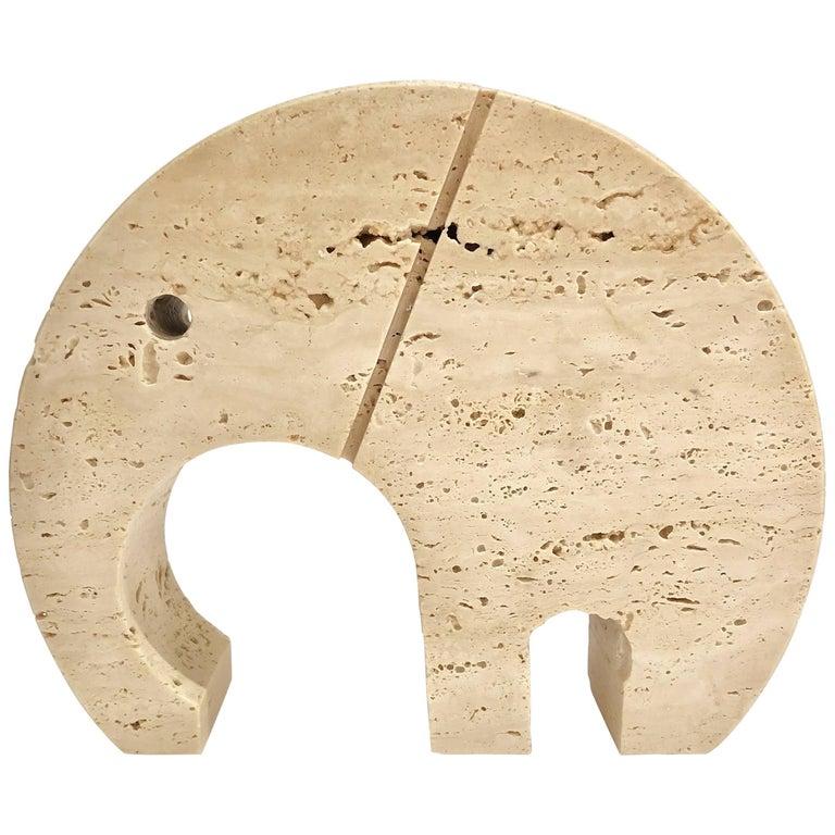 Midcentury Italian Travertine Elephant Paperweight by Fratelli Mannelli