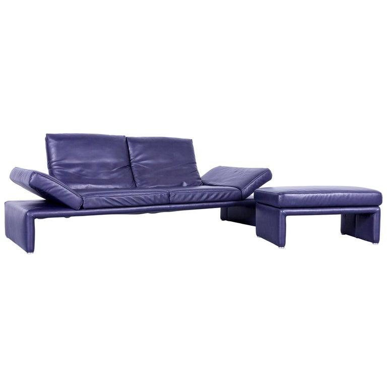 Koinor Raoul Designer Sofa Set Purple Eggplant Leather Three-Seat Couch