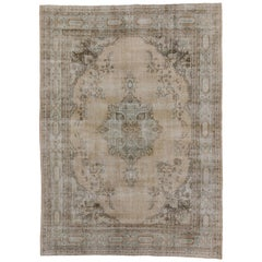 Distressed Turkish Sivas Rug with Shabby Chic Farmhouse Gustavian Style