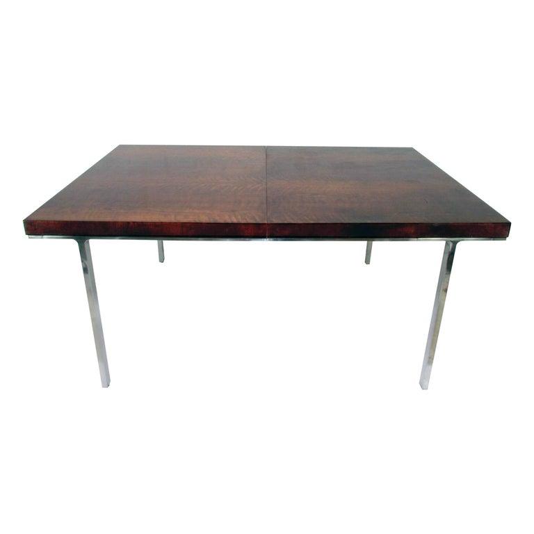 Midcentury Mahogany and Aluminium Dining Table with Three Leaves by John Stuart