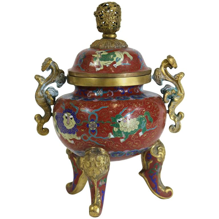 Republic Period Chinese Cloisonne Gilt Tripod Lidded Censer For Sale