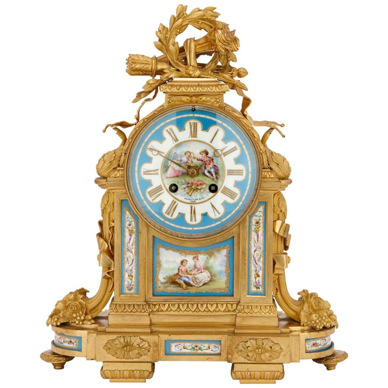 Antique French Sevres Style Porcelain and Gilt Bronze Mantel Clock For Sale
