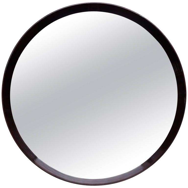 Round Beechwood Mirror Italy, circa 1960s