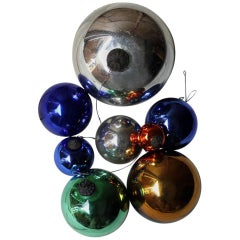Mixed Group of Eight Victorian Mercury Glass Witches Balls, circa 1900