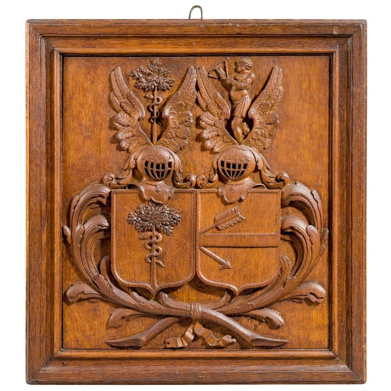 19th Century Carved Oak Coat of Arms