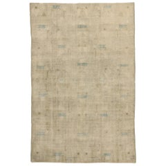Zeki Muren Inspired Distressed Vintage Sivas Rug with Industrial Art Deco Style