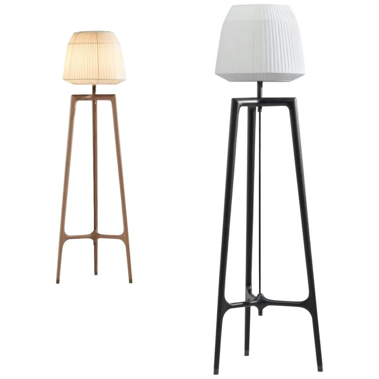 Lampo Floor Lamp in American Walnut in Four Finish Options by Ceccotti