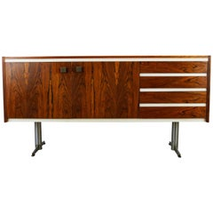 Vintage Dutch Design Lowboard / Sideboard by Topform Rosewood White Chrome, 1960