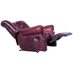 Chesterfield Armchair Oxblood Red Leather Buttoned Recliner Function Vintage