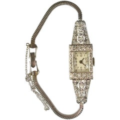 Art Deco Platinum Ladies Wristwatch with Diamonds