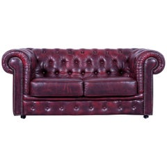 Chesterfield Sofa Oxblodd Red Two-Seat Leather Couch Vintage Retro