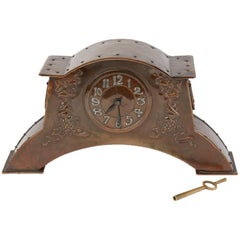 Arts & Crafts Copper Mantel Clock, circa 1900