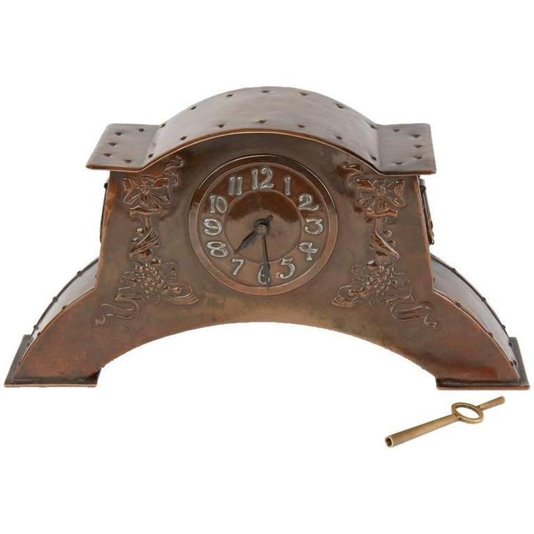 Arts & Crafts Copper Mantel Clock, circa 1900