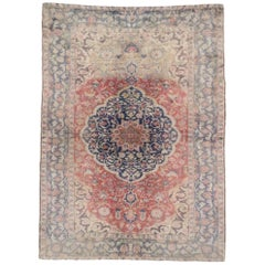 Distressed Vintage Turkish Sivas Rug with Romantic English Country Style