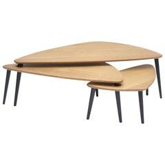 """Modern Scandinavian Style """"Danse De Salon"""" Modular Trundle Coffee Table in Oak"""