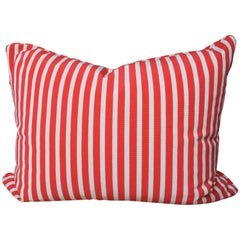 Large Cushion in Red and White Gert Voorjans for Jim Thompson Epinglé Fabric