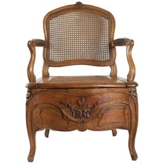 Commode Chair Period Louis XV with Its Original Porcelain Basin from Rouen