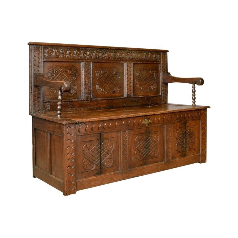 Antique Coffer Settle, English, Oak, Hall, Bench, Seat, circa 1700