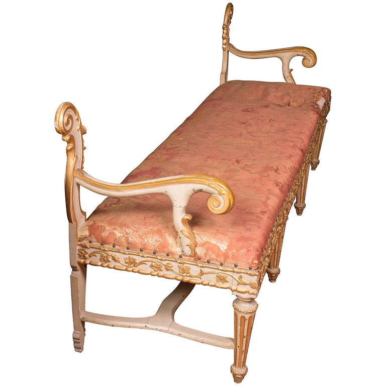 Painted and Carved Italian Bench