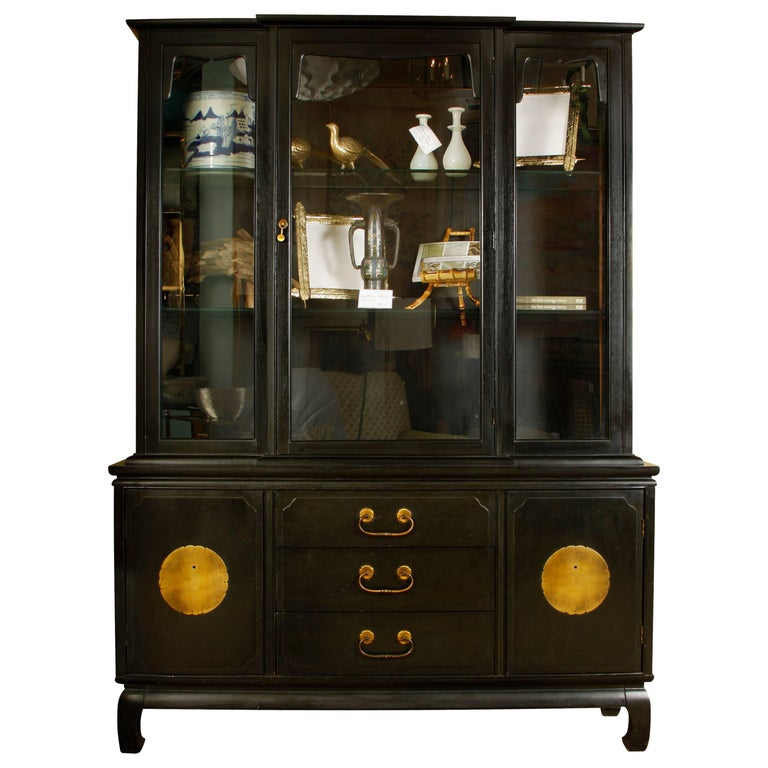 Black Lacquer Chinoiserie Breakfront Cabinet