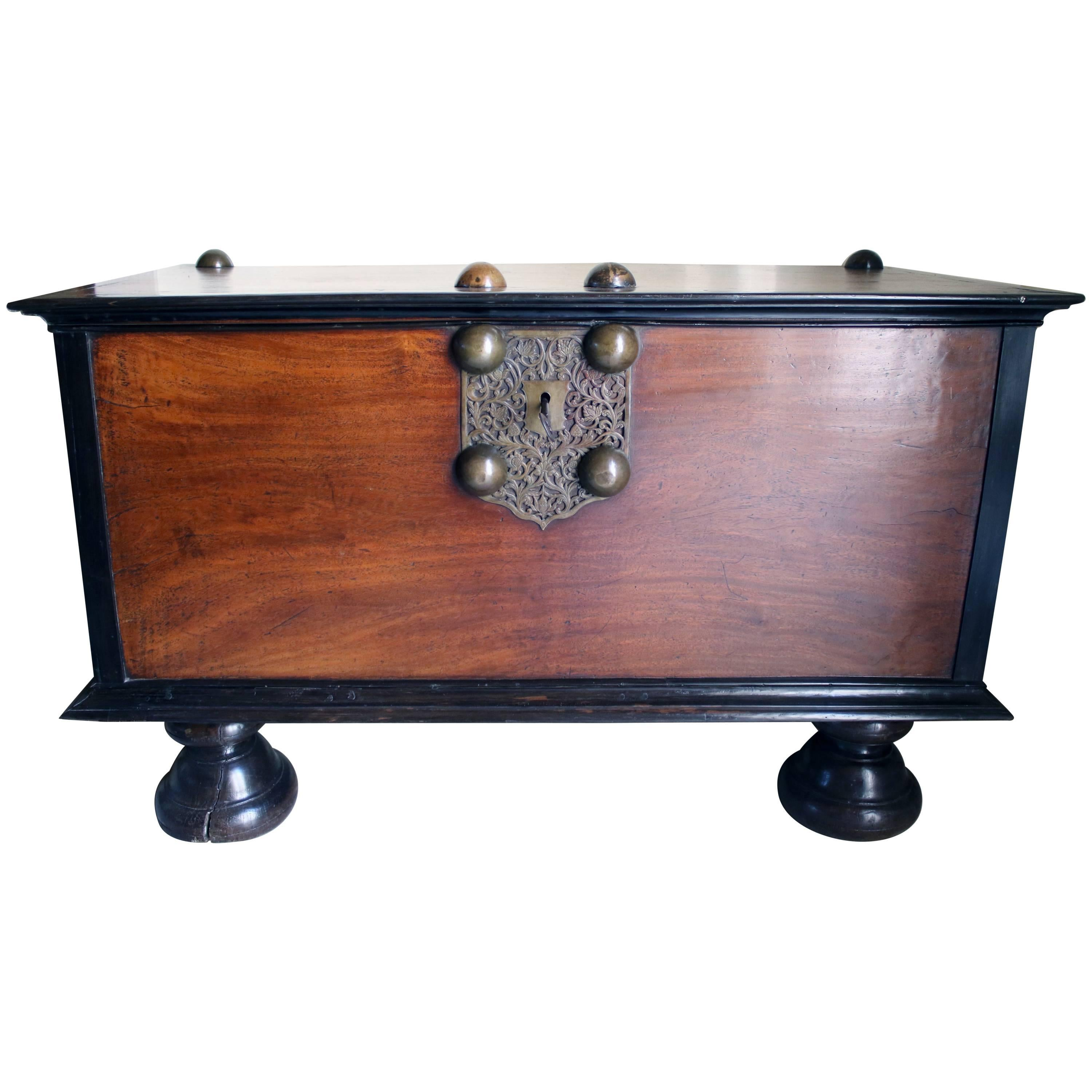 19th Century British Colonial Indian Storage Trunk Of Solid Mahogany